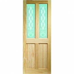 Pine Victorian Burns 2 Light Glazed Internal Door 1981mm X 762mm X 35mm
