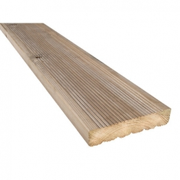 Treated Green Redwood Decking Board 38mm X 148mm X 4.8m