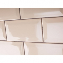 Johnson Tiles Bevel Brick Gloss Cream Tile 200mm X 100mm X 7.5mm
