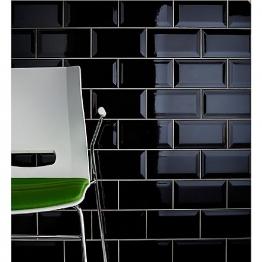 Johnson Tiles Bevel Brick Gloss Black Tile 200mm X 100mm X 7.5mm