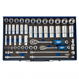 """3/8"""" And 1/2"""" Sq. Dr. Metric Socket Set In Metal Case (50 Piece)"""