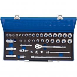 """3/8"""" Sq. Dr. Combined Mm/af Socket Set In Metal Case (40 Piece)"""