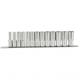 "1/2"" Sq. Dr. Imperial Deep Sockets On A Metal Rail (13 Piece)"