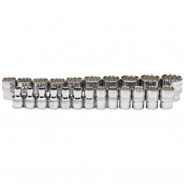"1/2"" Sq. Dr. Loose Metric Polished Chrome Sockets (23 Piece)"
