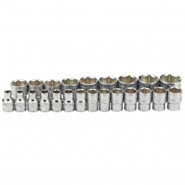 "1/2"" Sq. Dr. Metric Loose Micro Satin Chrome Sockets (23 Piece)"