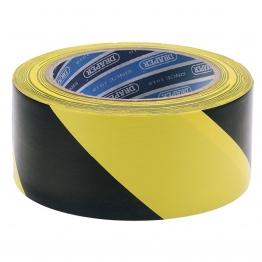 33m X 50mm Black And Yellow Adhesive Hazard Tape Roll