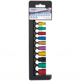 """1/4"""" Sq. Dr. Metric Sockets With A Coloured Chrome Finish (10 Piece)"""