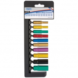 """1/4"""" Sq. Dr. Metric Deep Sockets With A Coloured Chrome Finish (10 Piece)"""