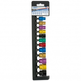 "3/8"" Sq. Dr. Metric Sockets With A Coloured Chrome Finish (12 Piece)"