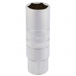 "3/8"" Square Drive 10mm Thread 6 Point Satin Chrome Spark Plug Socket (16mm Socket)"